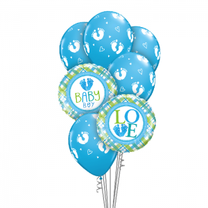 Baby Boy Foot Prints Balloon Bouquet - Baby Shower Balloons Melbourne