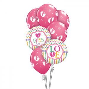 Baby Girl Foot Prints Balloon Bouquet - Baby Shower Balloons Melbourne