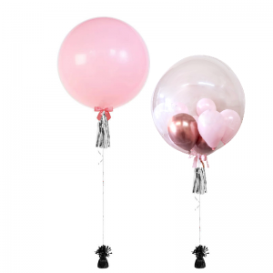 Helium-filled Jumbo & Bubble Balloons with Tassel - Birthday Balloon Delivery Melbourne
