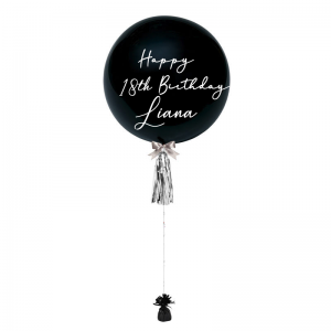 Black Personalised Jumbo Balloon with Tassels - Personalised Balloons Melbourne
