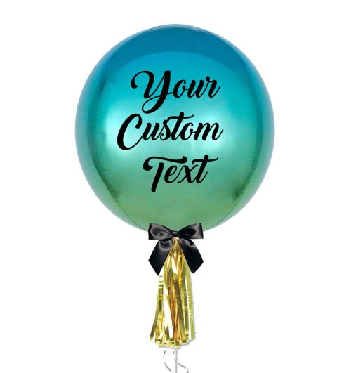 Bluish Green Personalised Ombre Orbz Jumbo Balloon with tassel - Balloon Delivery Melbourne