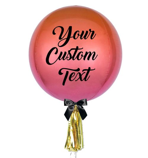 Pink Customised Ombre Orbz Jumbo Balloon - Personalised Balloons Melbourne