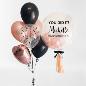 Graduation Balloon Bouquet with Clearz Mini Balloons - Balloon Delivery Melbourne