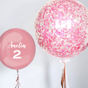 Pink Jumbo Confetti With Orbz Personalised Balloon Combo - Birthday Balloon Delivery Melbourne