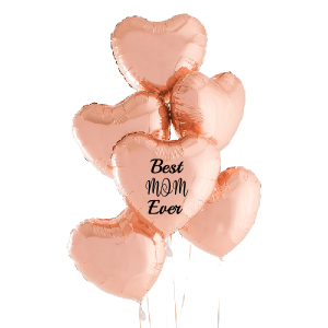 Rose Gold Foil Hearts - Personalised Balloon Bouquet - Anniversary Balloons Delivery Melbourne