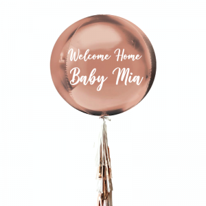 Rose Gold Orbz Balloon with Tassels Helium-filled - Personalised Balloons Melbourne