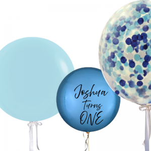 Jumbo Confetti Orbz & Solid Colour Personalised Balloon Combo - Birthday Balloon Delivery Melbourne