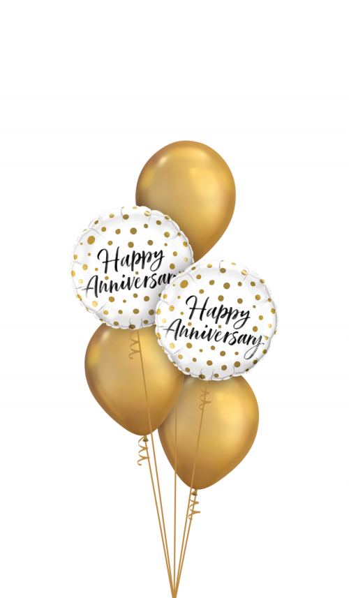 Chrome-Gold Happy Anniversary Balloon Bouquet - Anniversary Balloons Delivery Melbourne