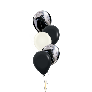 5 Black Marble Balloons - Balloon Bouquet Melbourne Delivery