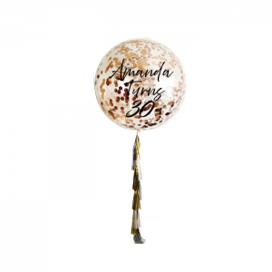 Rose Gold Personalised Jumbo Confetti Balloons with Tassels - Personalised Balloons Melbourne